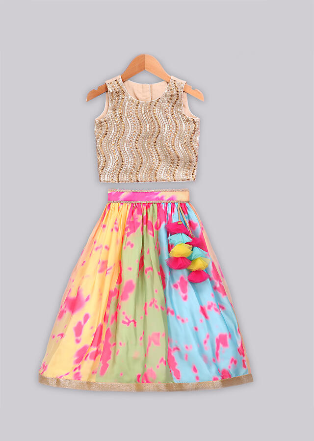 Multi color printed lehenga with golden sequence embroidered blouse and a contrasting dupatta Online - Free Sparrow