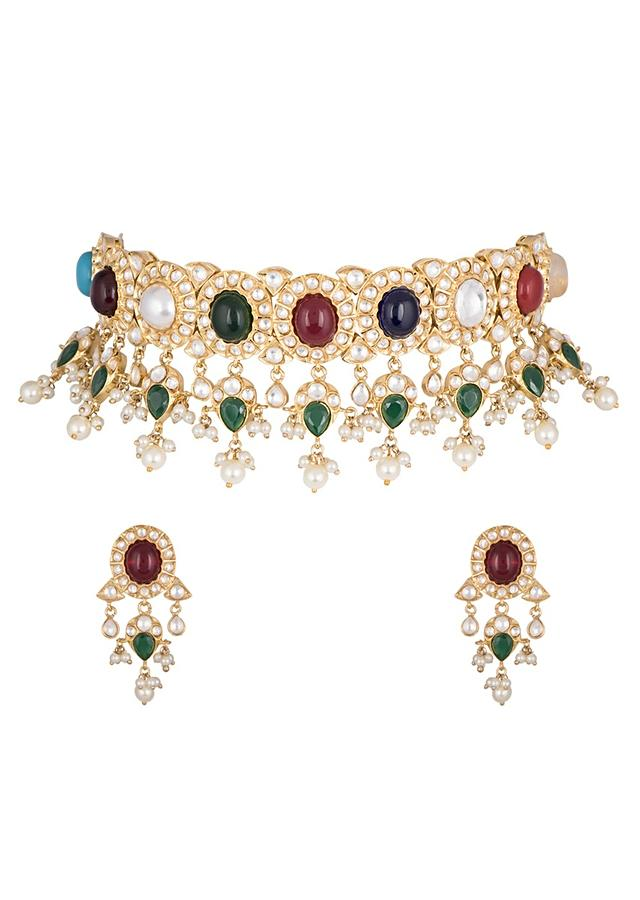Multi Color Stone Studded Necklace And Earring Set With Kundan And Faux Pearls By Aster