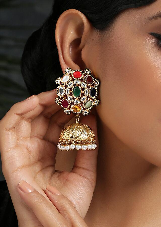 Multicolor Floral Jhumkas With Faux Glass Kundan And Dangling Shell Pearls By Paisley Pop