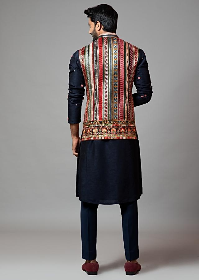 Multicolor Nehru Jacket With Chikan Kari Embroidery By Smriti Apparels