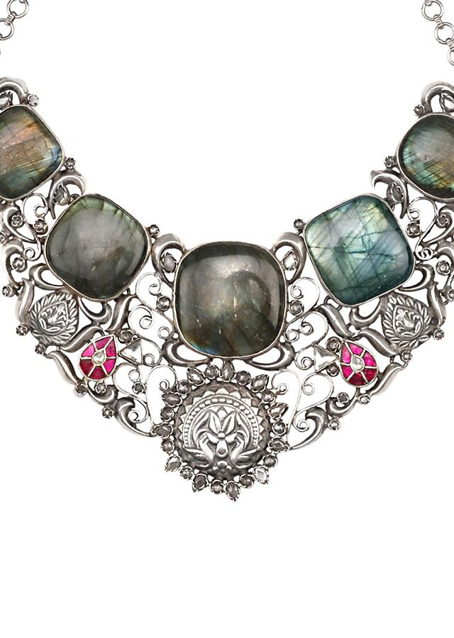 Multicolour Vintage Necklace With Labradorite Gemstones And Carved Floral And Duck Pattern Made In Sterling Silver By Sangeeta Boochra