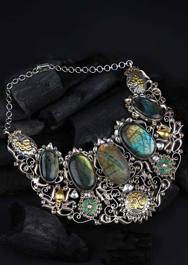 Multicolour Vintage Necklace With Labradorite Gemstones And Gold Plated Peacock Pattern Made In Sterling Silver By Sangeeta Boochra