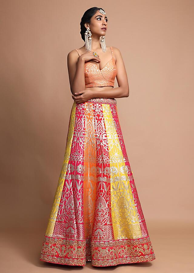 Multicoloured Lehenga With Floral Weaved Design And Gotta Patti Accented Borders Online - Kalki Fashion
