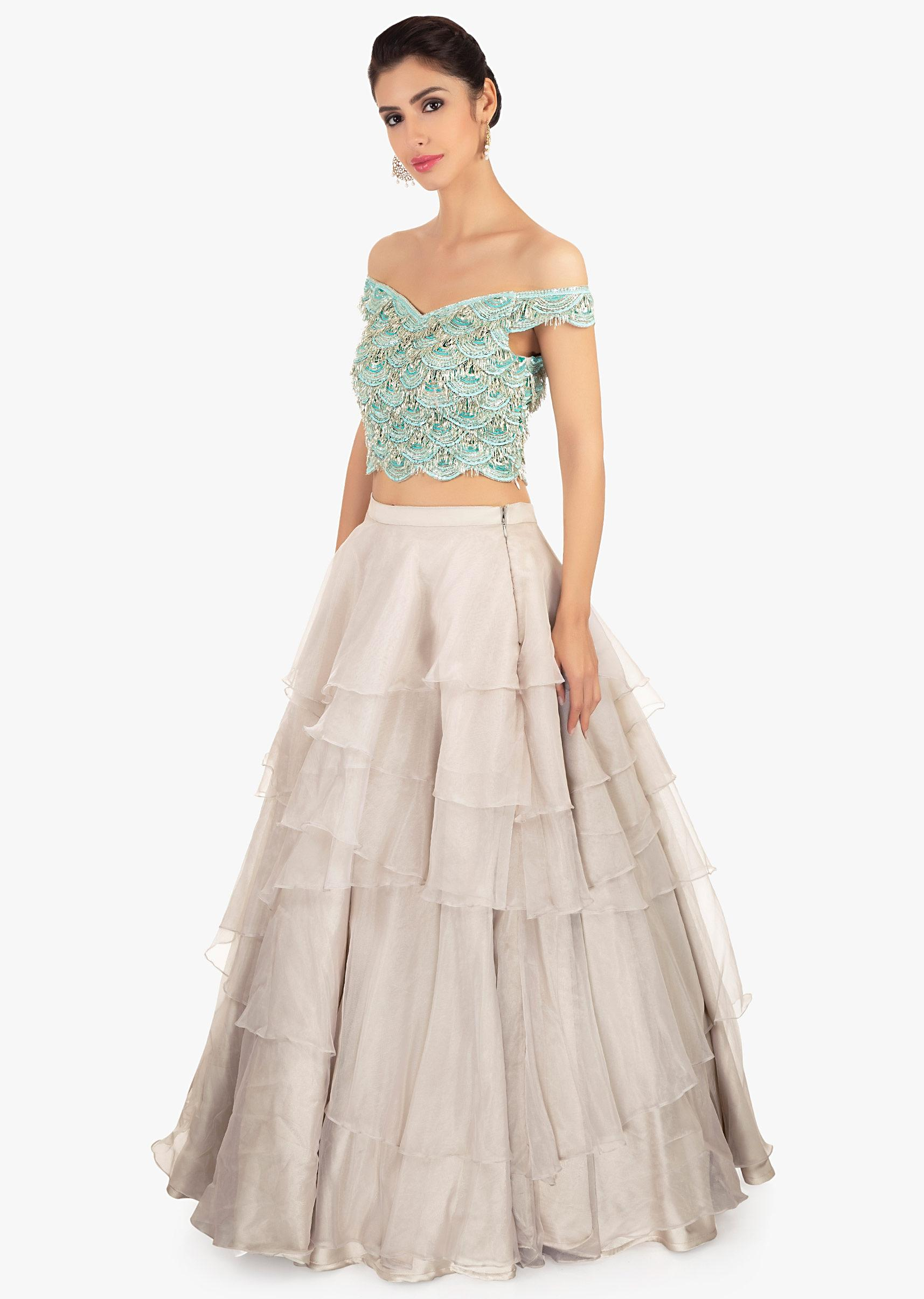 b5a371bed Multiple layer organza skirt paired with a off shoulder crop top only on  Kalki