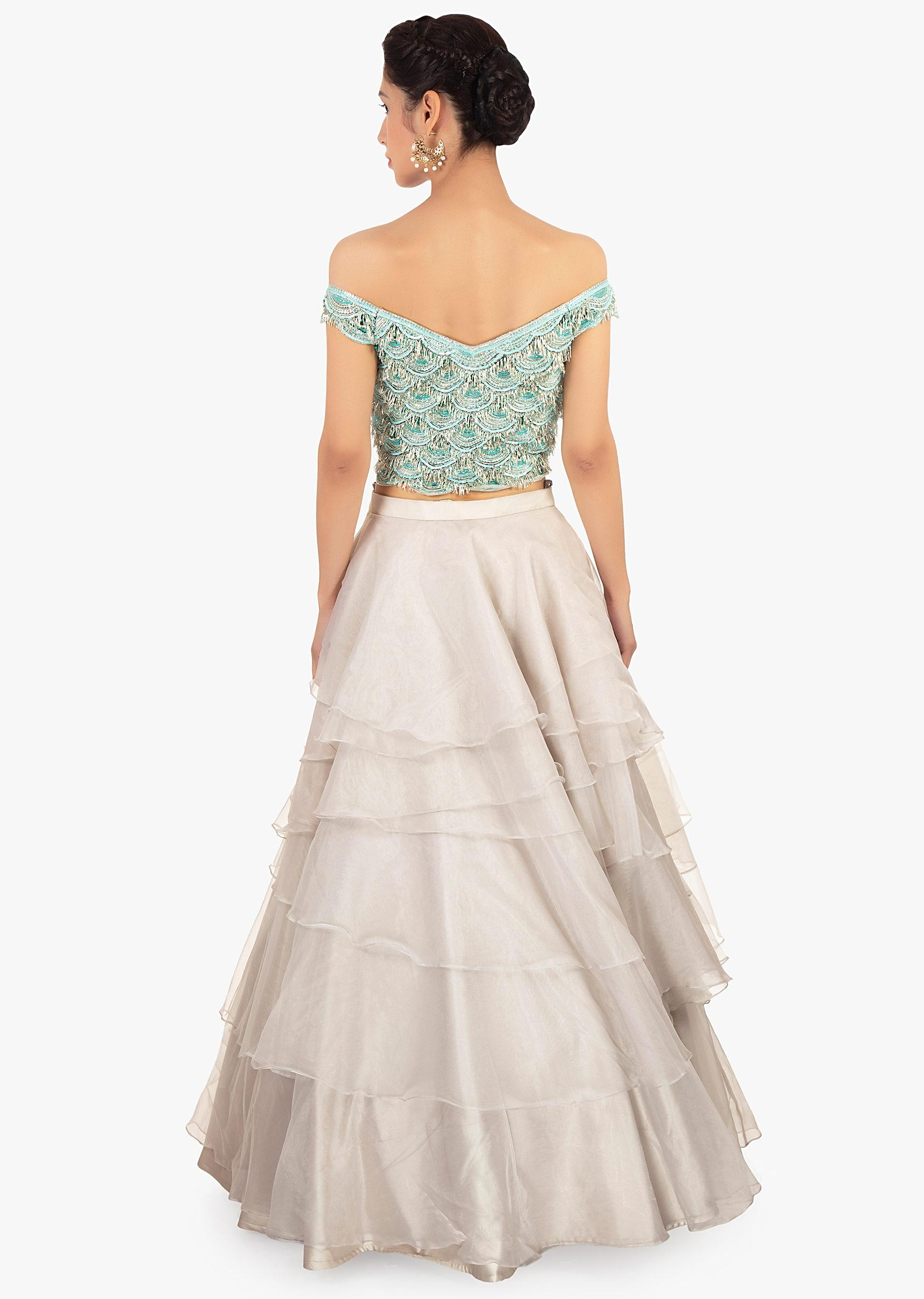 b7910db019dd96 Multiple layer organza skirt paired with a off shoulder crop top only on  Kalki