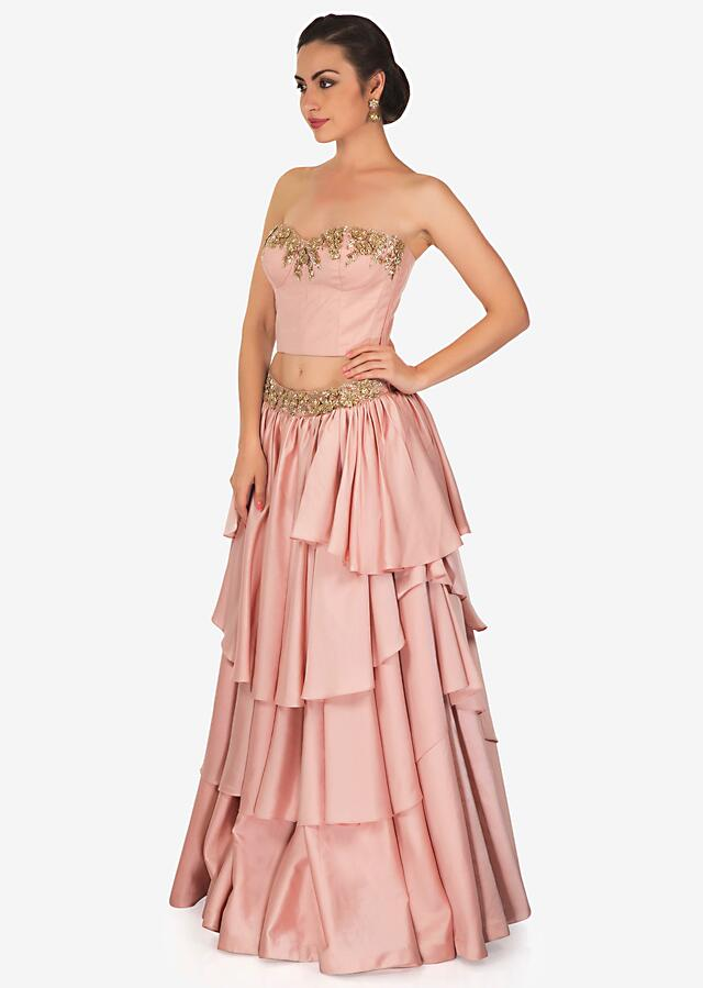 Pink Layered Skirt And Corset Blouse Adorned With Cut Dana Work Online - Kalki Fashion