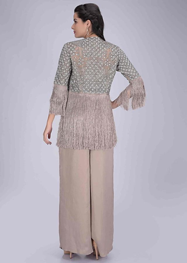 Mushroom Grey Palazzo Pants And Crop Top With Embellished Net Jacket Online - Kalki Fashion