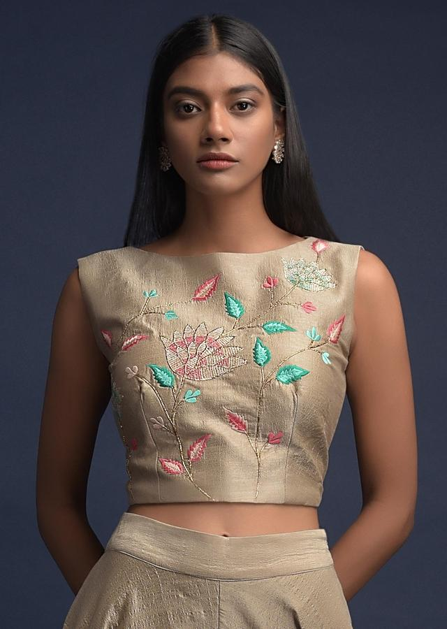 Mushroom Grey Palazzo Suit In Tussar Silk With Ruffle Jacket And Resham Embroidery Online - Kalki Fashion