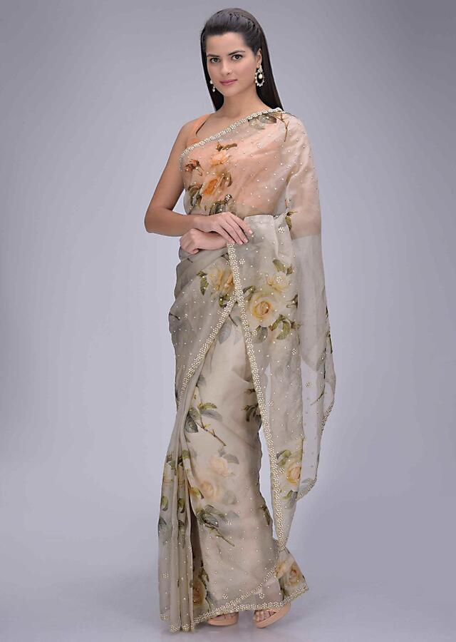 Mushroom Grey Organza Saree With Floral Print And Embellished Border Online - Kalki Fashion