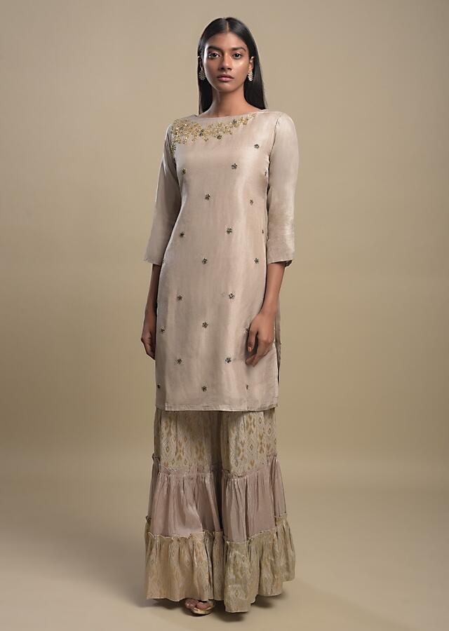 Mushroom Grey Sharara Suit With Cut Dana And Thread Embroidered Floral Buttis Online - Kalki Fashion