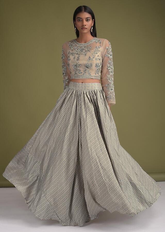 Mushroom Grey Skirt With Floral Print And Embellished Net Crop Top And Sleeveless Jacket Online - Kalki Fashion