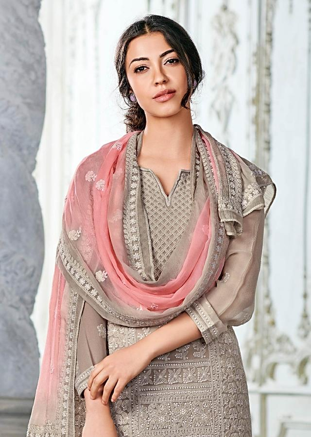 Mushroom Grey Straight Cut Suit In Georgette With Lucknowi Thread Work In Floral And Checks Pattern Online - Kalki Fashion