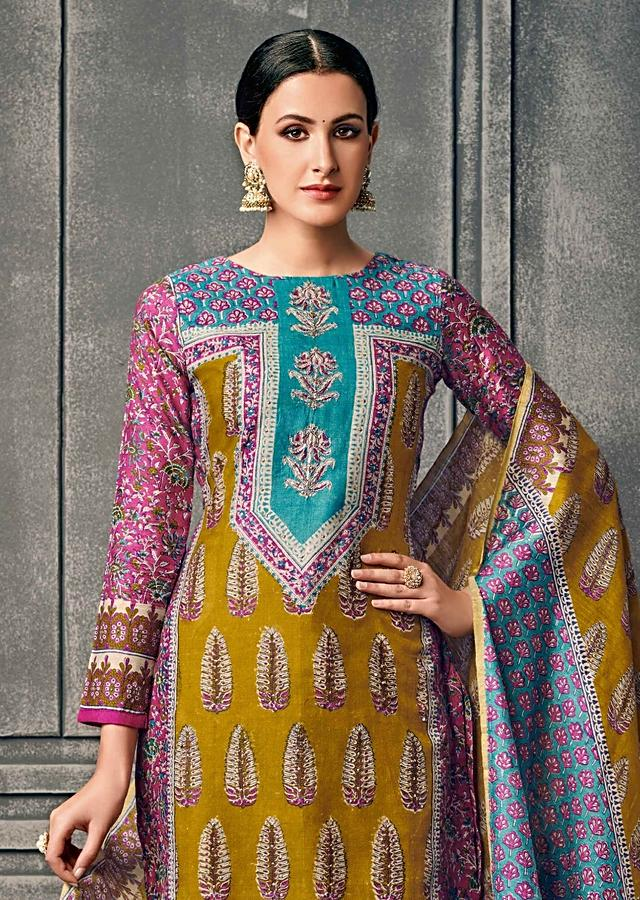 Mustard A Line Suit In Cotton Silk With Turq Yoke In Flroal Print And Zaei Work Online - Kalki Fashion