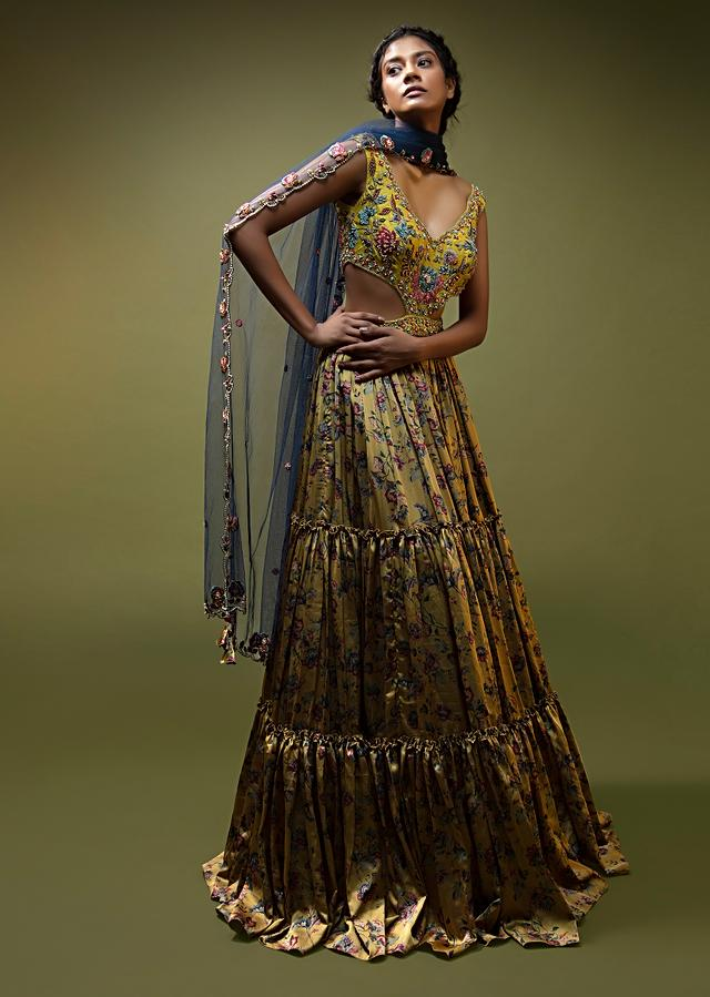Mustard Anarkali Gown In Floral Printed Satin With Side Cut Outs And Multi Colored Resham Embroidered Flowers Online - Kalki Fashion