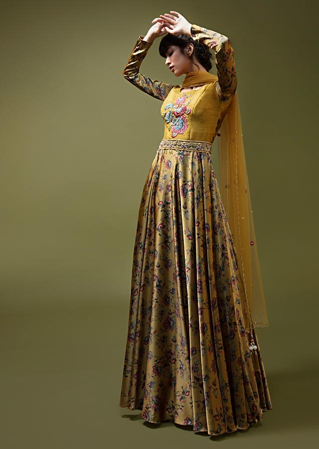Mustard Anarkali Suit In Satin With Floral Print And Embroidered Floral Motif With Resham And Sequins Work Online - Kalki Fashion
