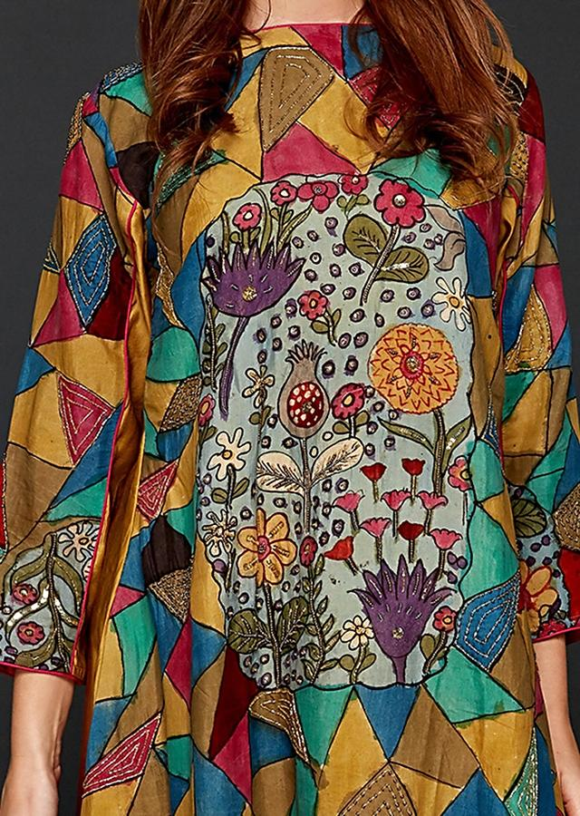 Mustard And Fuchsia Shaded A line Suit With Hand Painted Kalamkari In Mosaic Design Online - Kalki Fashion