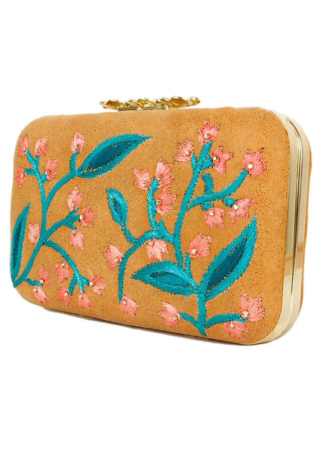 Mustard Box Clutch With Resham Embroidered Floral Design Online - Kalki Fashion