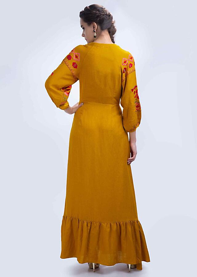 Mustard Tunic Dress In Cotton With Long Embroidered Sleeves Online - Kalki Fashion