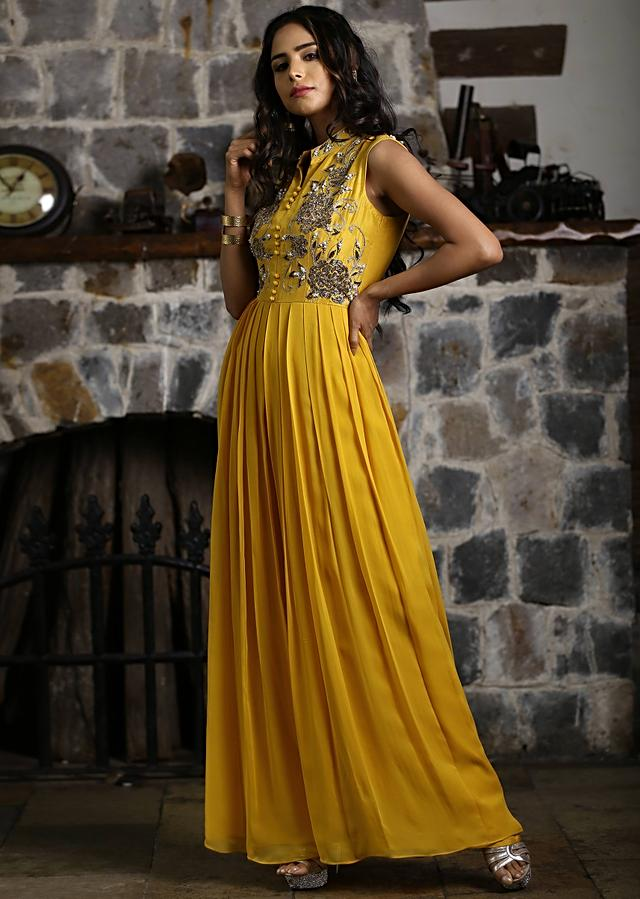 Mustard Jump Suit In Crepe With Embroidered Bodice Online - Kalki Fashion