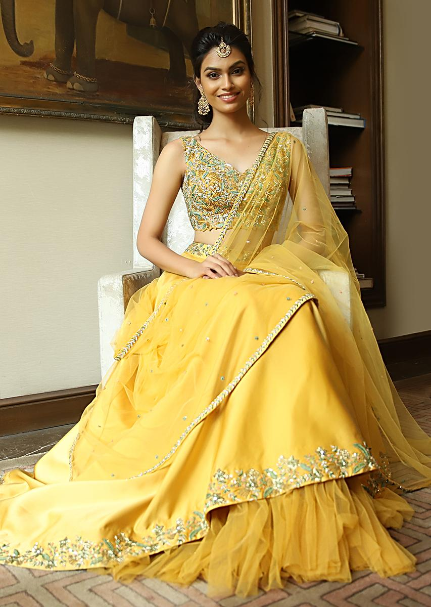 b41a608f239259 Mustard cut out crop top with satin skirt having under layer in net only on KalkiMore  Detail