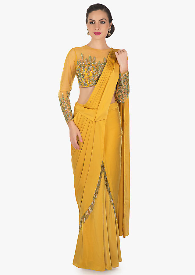 Mustard Saree Gown In Georgette Designed With Cut Dana And Tassels Online - Kalki Fashion