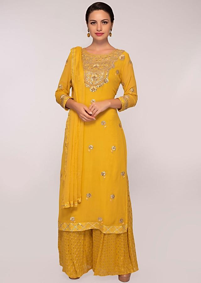 Mustard Suit In Georgette With Gotta Patch Embroidery And Butti In Floral Motif Online - Kalki Fashion