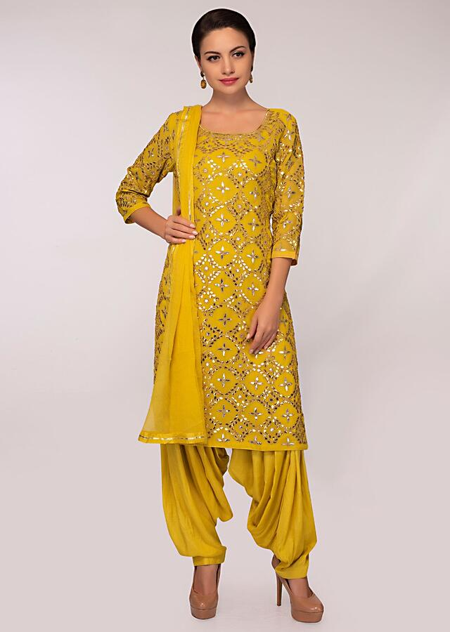 Mustard Suit In Jaal Embroidered Georgette With Patiala Pant And Chiffon Dupatta Online - Kalki Fashion