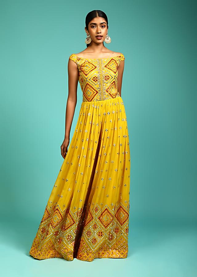 Mustard Jumpsuit In Georgette With Multi Colored Resham And Abla Embroidered Geometric Motifs Online - Kalki Fashion