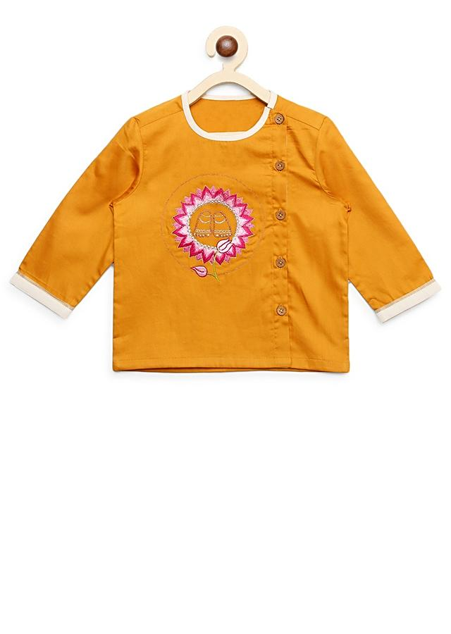 Mustard Kurta Set For Little Gopala With Thread Embroidered Krishna Inspired Motifs By Tiber Taber