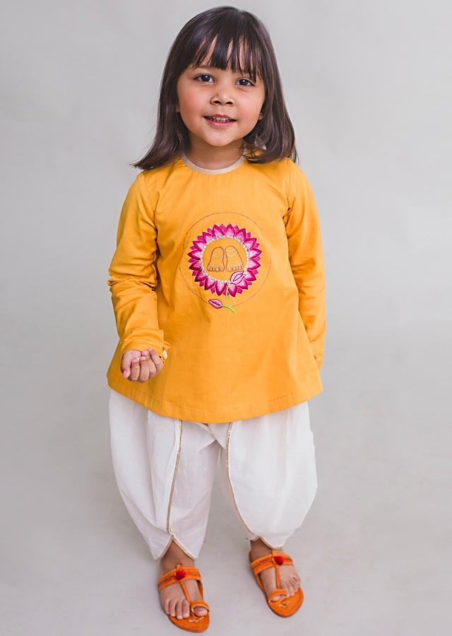 Mustard Kurta Set For Little Radha With Aari Embroidered Krishna Inspired Motifs By Tiber Taber