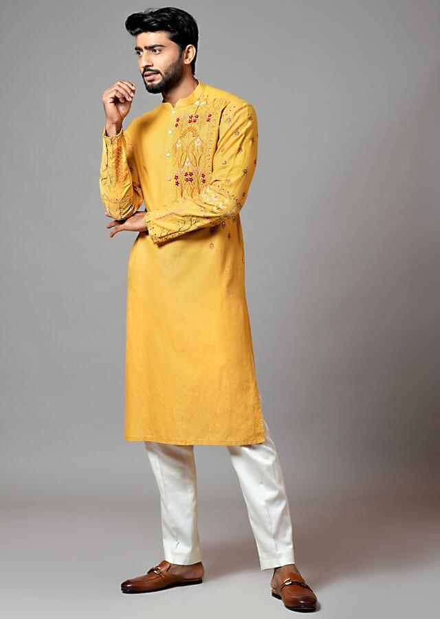 Mustard Kurta Set In Linen With Red Floral Embroidery And Cream Pajama Pant By Smriti Apparels