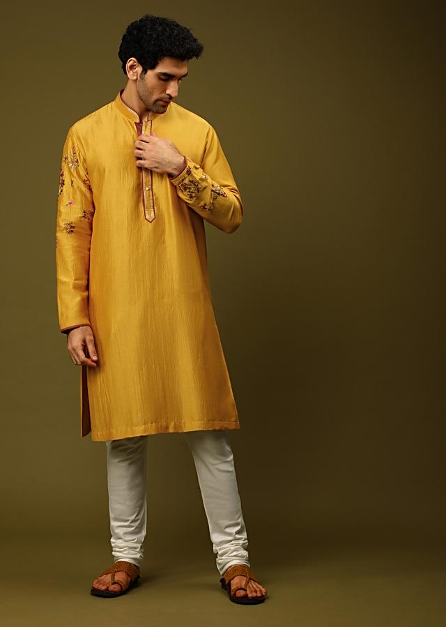 Mustard Kurta Set In Silk With Colorful Resham And Zardosi Embroidered Floral Motifs On The Sleeves Online - Kalki Fashion