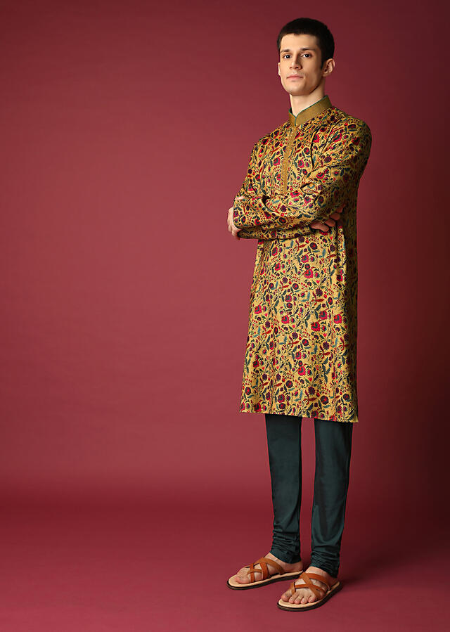 Mustard Kurta Set With Floral Printed Jaal All Over Online - Kalki Fashion