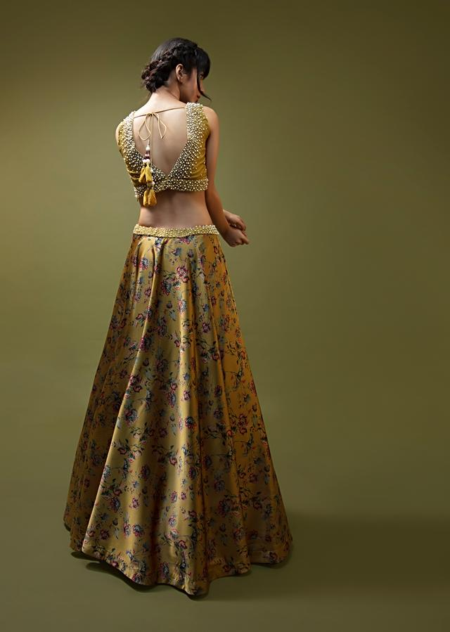 Mustard Lehenga In Satin With Floral Print All Over And Moti Accented Blouse Online - Kalki Fashion