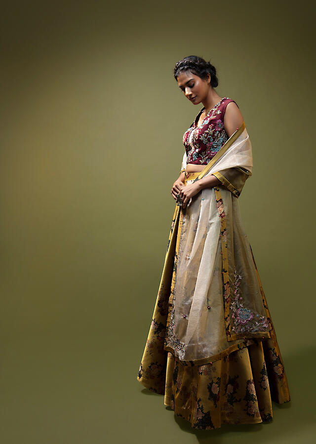 Mustard Lehenga In Satin With Floral Print And A Maroon Hand Embroidered Choli With Multi Color Resham And Zardosi Detailing Online - Kalki Fashion
