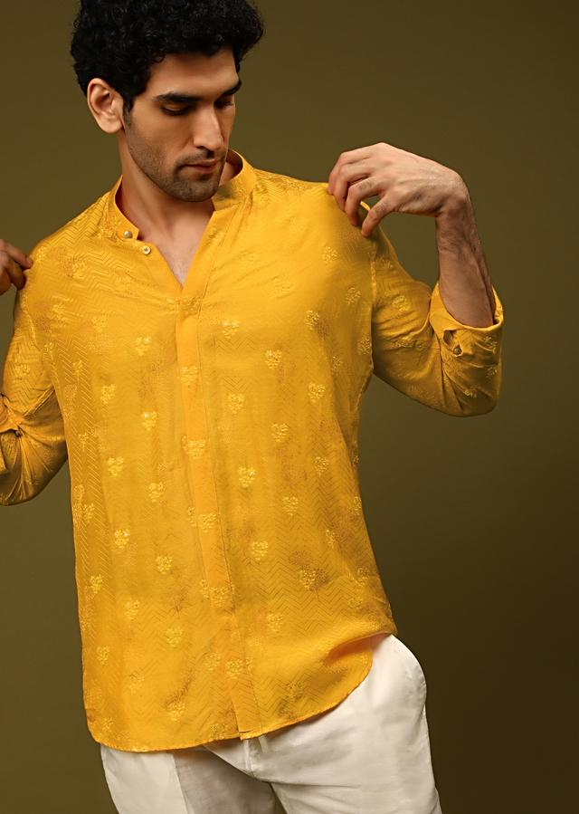 Mustard Nehru Jacket With Thread And Abla Embroidered Moroccan Jaal And Woven Shirt With Aligarh Pants Online - Kalki Fashion
