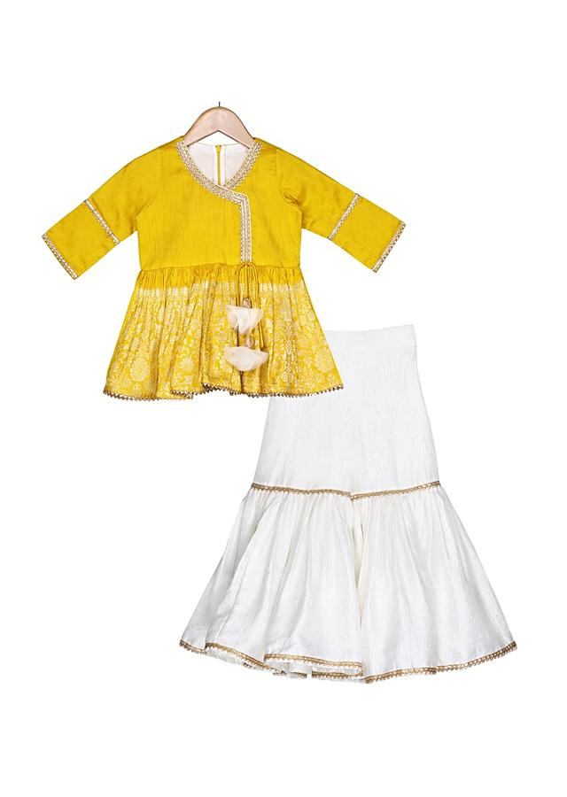 Mustard peplum top paired with contrasting ivory sharara and dupatta Online - Free Sparrow