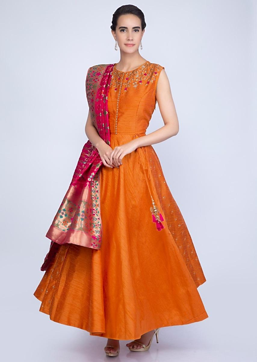 26bbc2c795d68 Mustard raw silk embroidered suit with fuchsia pink brocade silk dupatta  only on KalkiMore Detail