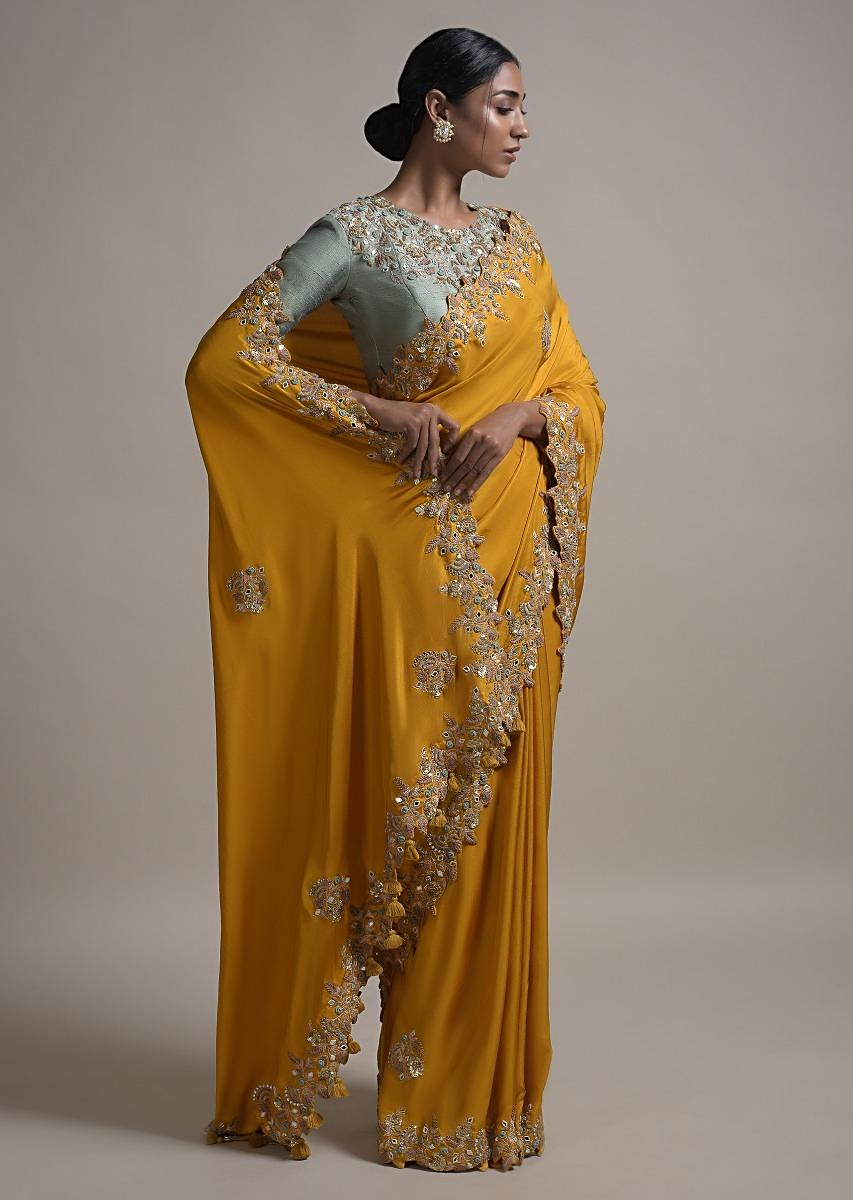 mustard-saree-in-satin-silk-with-bud-embroidery-and-mirror-work-online-kalki-fashion-k025snfnhsy-sg31477_5_.jpg (853×1200)