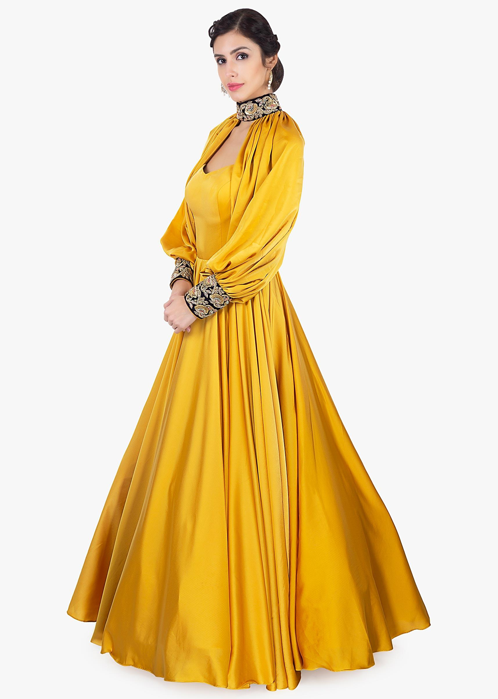 genuine shoes shop best sellers excellent quality Mustard satin strap gown with additional top layer only on Kalki