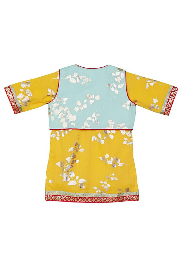 Mustard Sharara Set With Light Blue Jacket And Foil Print Online - Free Sparrow