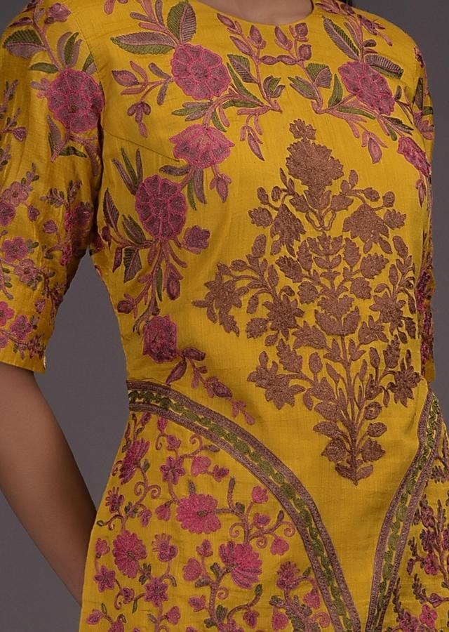 Mustard Sharara Suit In Khadi Cotton With Kashmiri Thread Embroidery In Floral Pattern Online - Kalki Fashion