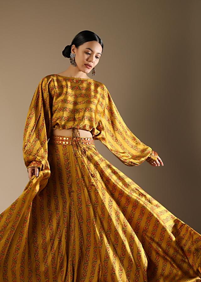 Mustard Skirt And Crop Top With Floral Print And Fancy Puffed Dolman Sleeves Online - Kalki Fashion