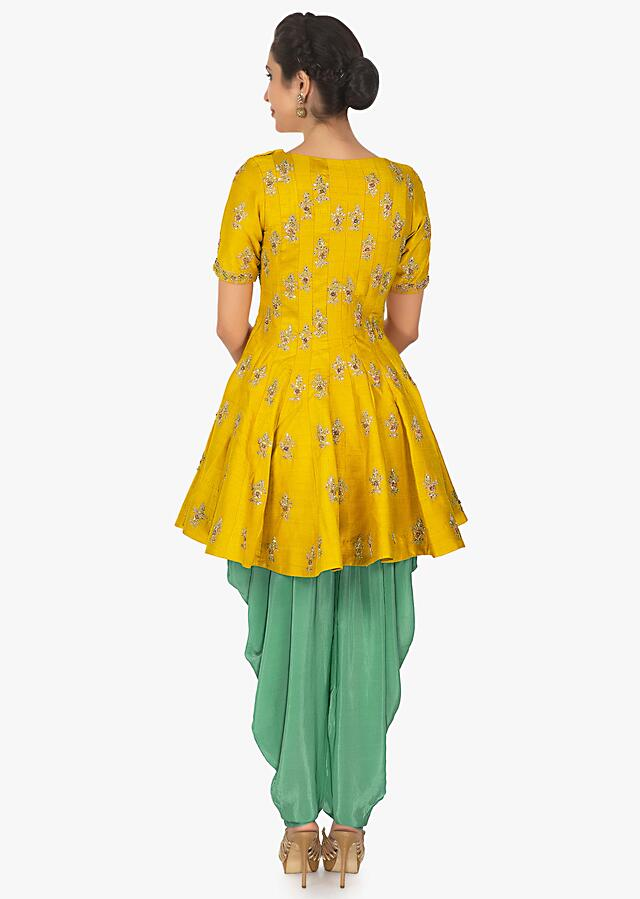 Mustard thigh length top with turquoise blue dhoti pant only on Kalki