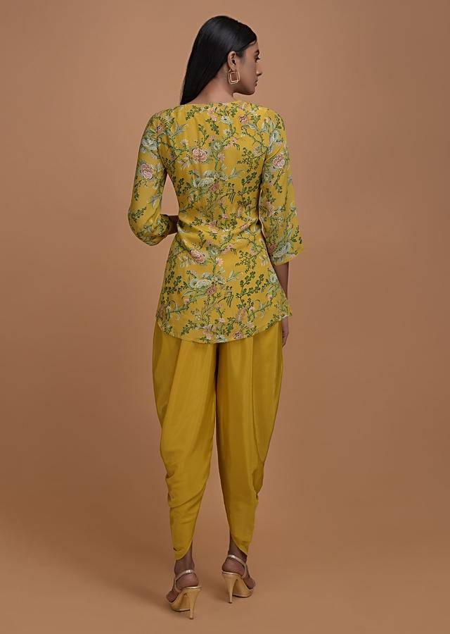 Mustard Top With Floral Print And Matching Dhoti Pant Online - Kalki Fashion