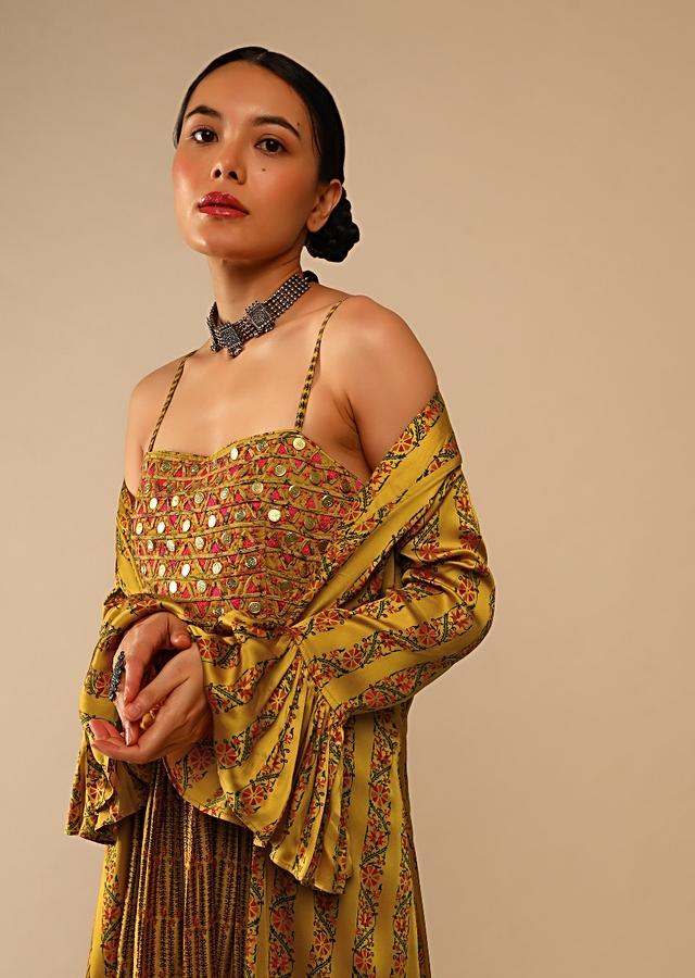 Mustard Tunic And Ruffle Jacket Set In Cotton With Floral Print And Resham Embroidery Online - Kalki Fashion