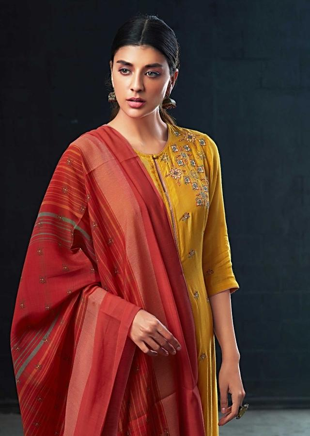 Mustard Yellow A Line Sharara Suit With Resham Embroidered Yoke Online - Kalki Fashion