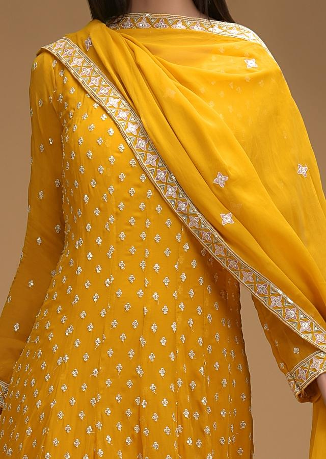 Mustard Yellow Anarkali Suit In Georgette With Resham Embroidered Buttis And Floral Border Online - Kalki Fashion