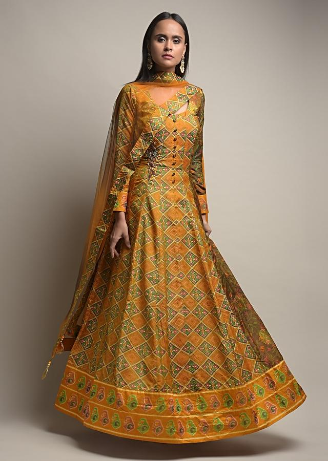 Mustard Yellow Anarkali Suit In Silk With Patola Print And Beads Embroidered Patchwork Detailing Online - Kalki Fashion