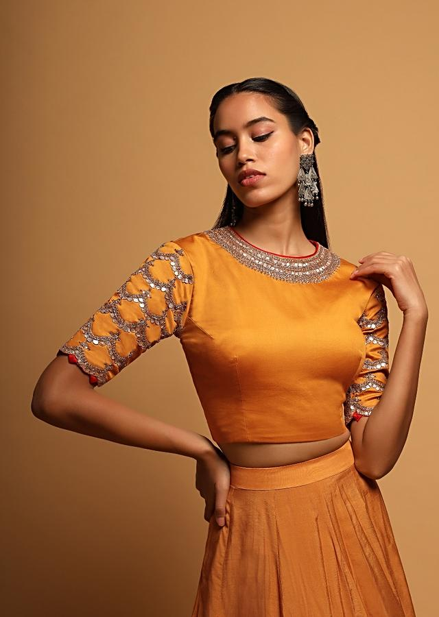 Mustard Yellow Blouse In Silk With Contrasting Red Piping And Gotta Patti Embroidery On The Sleeves And Neck Online - Kalki Fashion